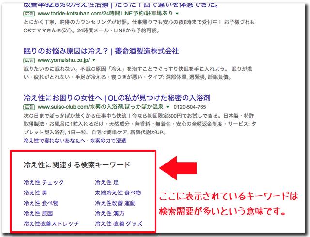 検索画面の最下部に表示されるサジェストキーワード