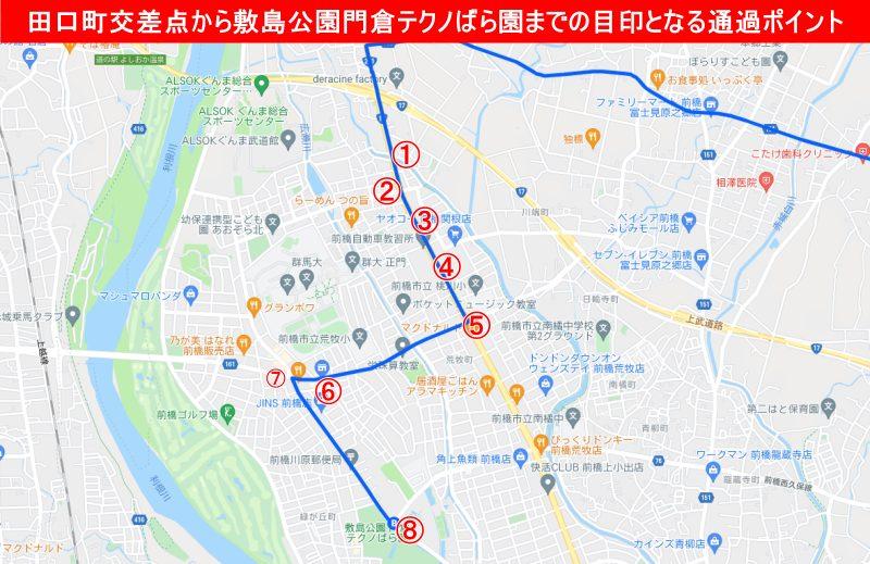 田口町交差点から敷島公園門倉テクノばら園までの目印となる通過ポイントを示した地図